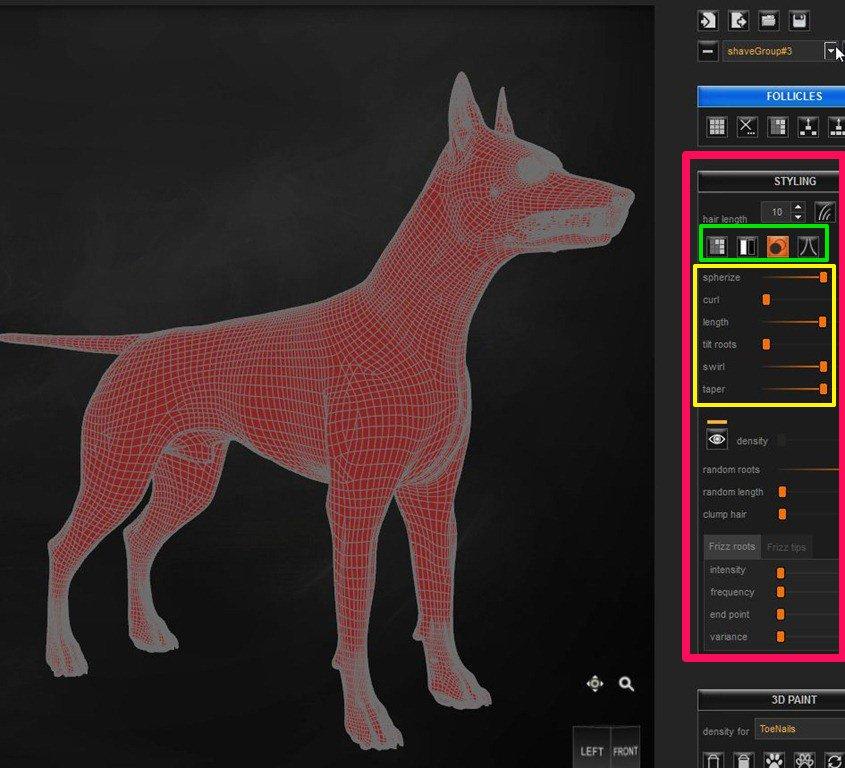 Daz Studio4.7 LookAtMyHairのスタイリングパラメーター